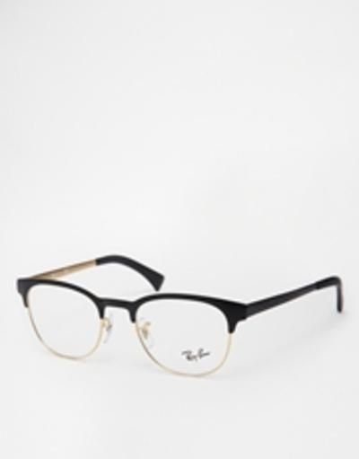 rayban clubmaster glasses 0rx6317  black #accessories #eyewear #covetme
