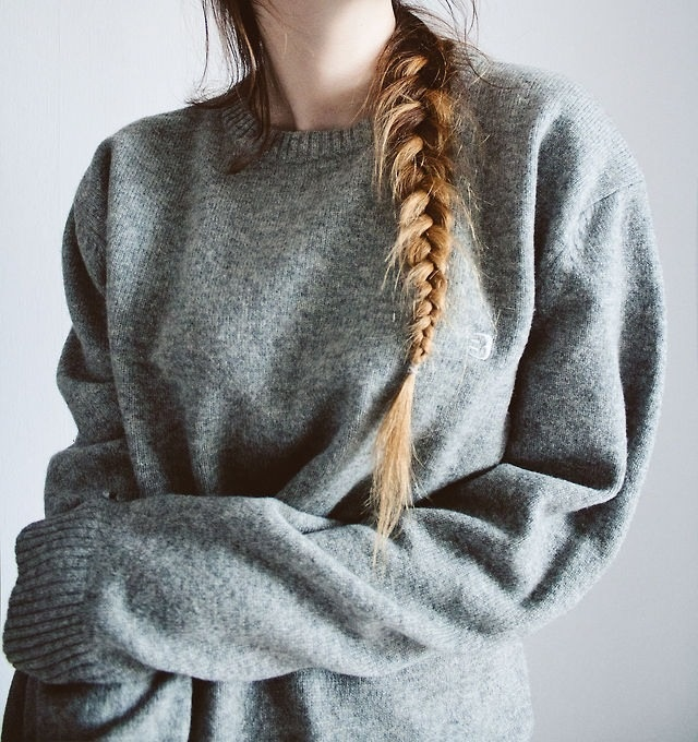 Braid.: Big Sweaters, Style, Jumpers, Over Sweaters, Sweaters Weather, Grey Sweaters, Fishtail Braids, Cozy Sweaters, Braids Hair