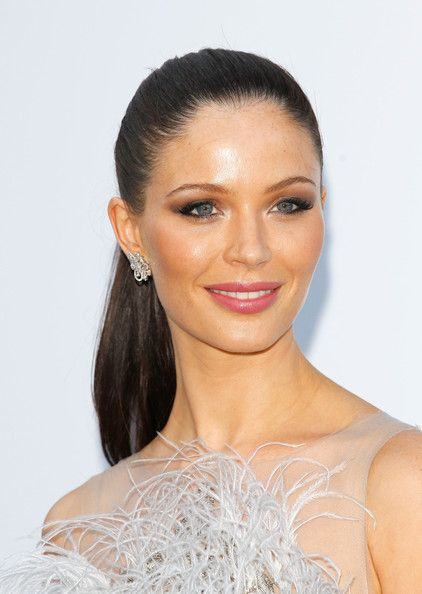 Georgina Chapman,  fresh and flawless makeup and a classic ponytail makes this a gorgeous modern-glam look.