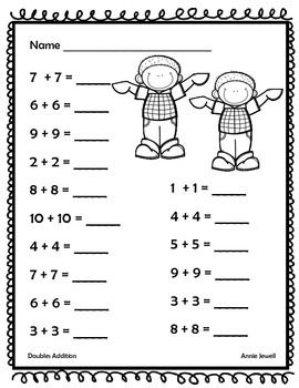 Addition Facts Doubles Sums 20 or Less for Kindergarten ...