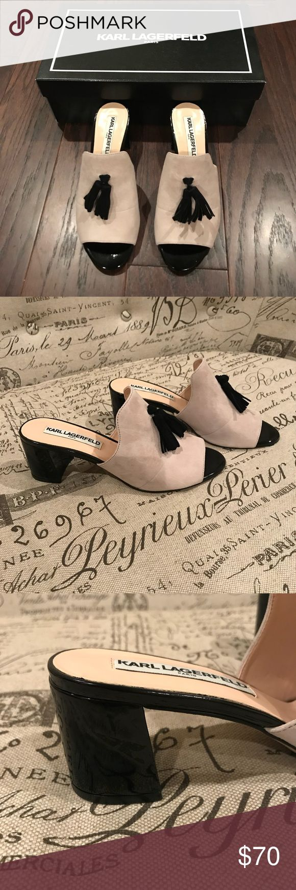 NIB Karl Lagerfeld Mules 6 1/2 Classy, Classy, Classy! 🥂. Gorgeous NIB, only worn in the store!  Cream suede and black patent leather mules by Karl Lagerfeld. Block heel 2 inches, box included!  Don't pass these up!! 💞 Karl Lagerfeld Shoes Mules & Clogs