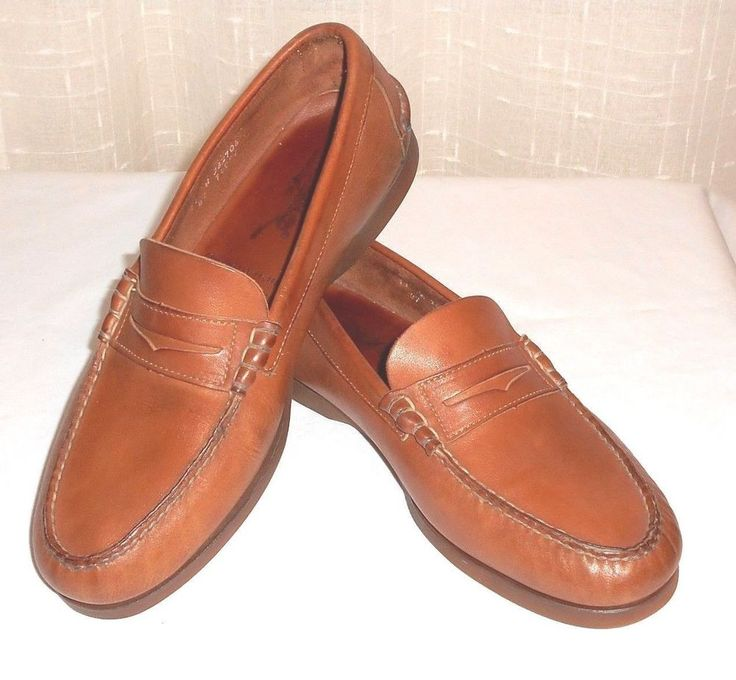 Timberland Brown Leather Penny Loafer Made in USA Men's Size 11 W #Timberland #PennyLoaferSlipOn