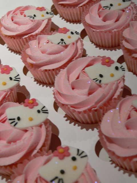 Hello Kitty Cupcakes by Kimmy Loves Cake, via Flickr