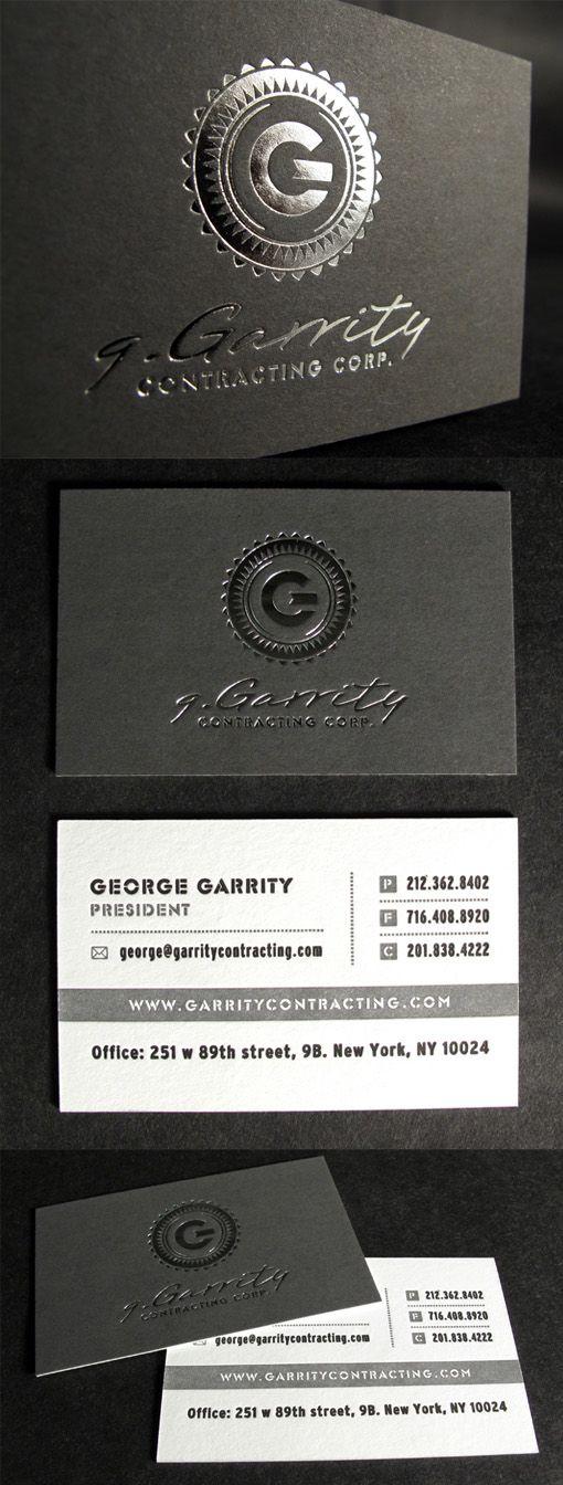 760 best business cards images on pinterest business card design distinctive silver foil on black letterpress business card design reheart Choice Image