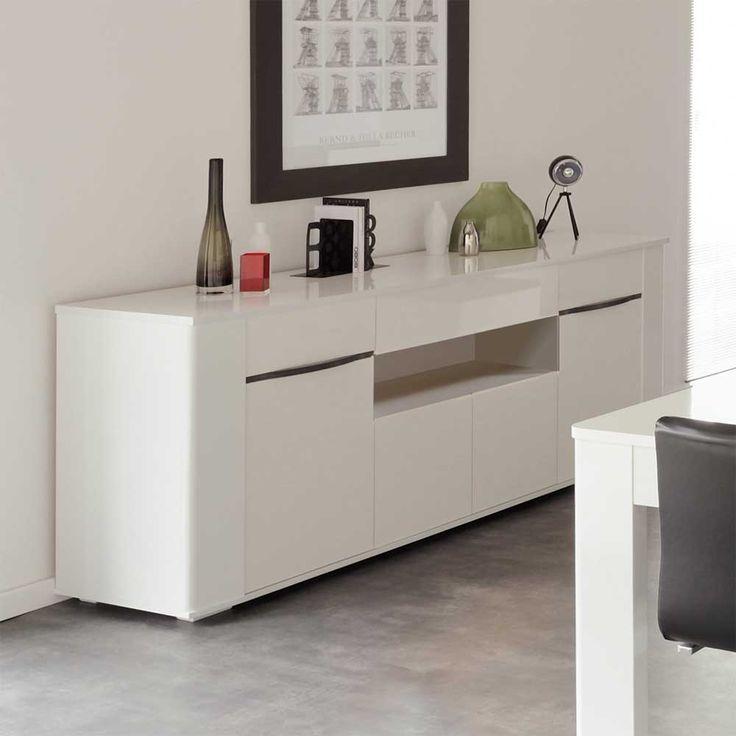 Hochglanz Sideboard in Weiß 200 cm breit sideboard - wohnzimmer nussbaum weis