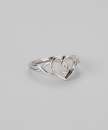 Heart of the Matter Loving this Diamond & Sterling Silver Heart Frame Ring on #zulily! #zulilyfinds