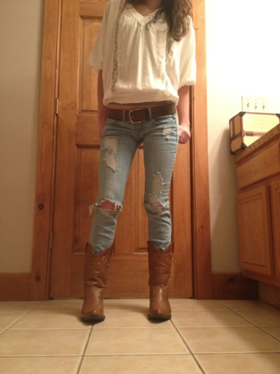 White Blouse, Jeans, And Boots
