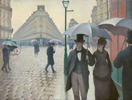 1877:Gustave Caillebotte:Paris Street,Rainy Day (Paris Street-Rainy Weather)  [Impressionism/Realism;France] Independently wealthy French artist Gustave Caillebotte provided significant financial support for the Impressionists.He bought their paintings (over 60 of them),funded their exhibitions,and sometimes even paid their rent.Although many scholars group Caillebotte with the Impressionists because of his interests in the effects of light and in painting everyday life,he differed fr