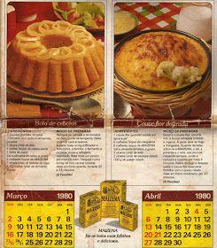 Receitas D'casa: Calendário Maizena 1980