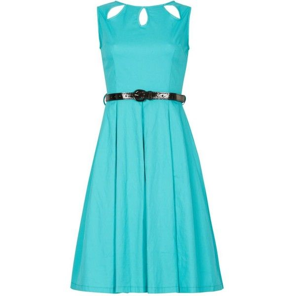 Lindy Bop Turquoise lily swing dress ($39) ❤ liked on Polyvore featuring dresses, blue skater skirt, blue cut out dress, turquoise blue dress, blue fitted dress and fitted dress