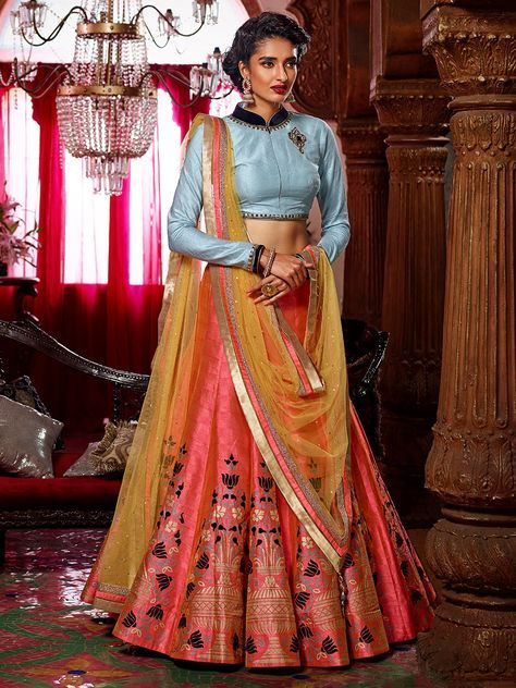 Peach Silk Embroidered Lehnega Choli