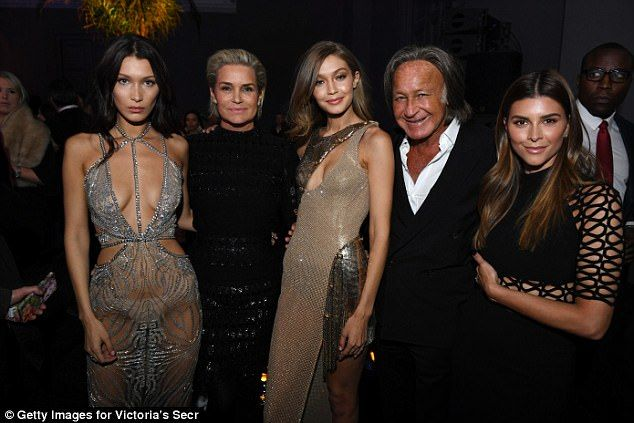 Bella, left, is seen with her mother Yolanda, sister  Gigi father Mohamed and his wife Shiva Safai in Paris in 2016
