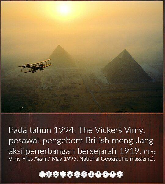 Penerbangan bersejarah yang dimaksudkan adalah penerbangan tanpa henti merentasi Atlantik pada Jun 1919. The Vicker Vimy digunakan sebagai pesawat pengebom dalam perang dunia pertama.  #sejarah #teknologi #history #fakta #info #instasejarah #sejarahdunia #peradaban #ketamadunan #asia #eropah #amerika #afrika #melayu #malaysia #belajarsejarah #follow #followme #world #trivia #facts #monumen #artifak #nusantara #funfacts #1919 #vickersvimy #thevickervimy #1994 by instasejarah @enthuseafrika
