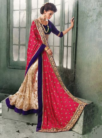 Beige And Shades Of Pink Color Half Net And Half Crepe Special Designer Sarees : Mishri Collection YF-24526