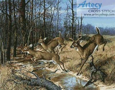 Deer Crossing - cross stitch pattern designed by Tereena Clarke. Category: Deer.