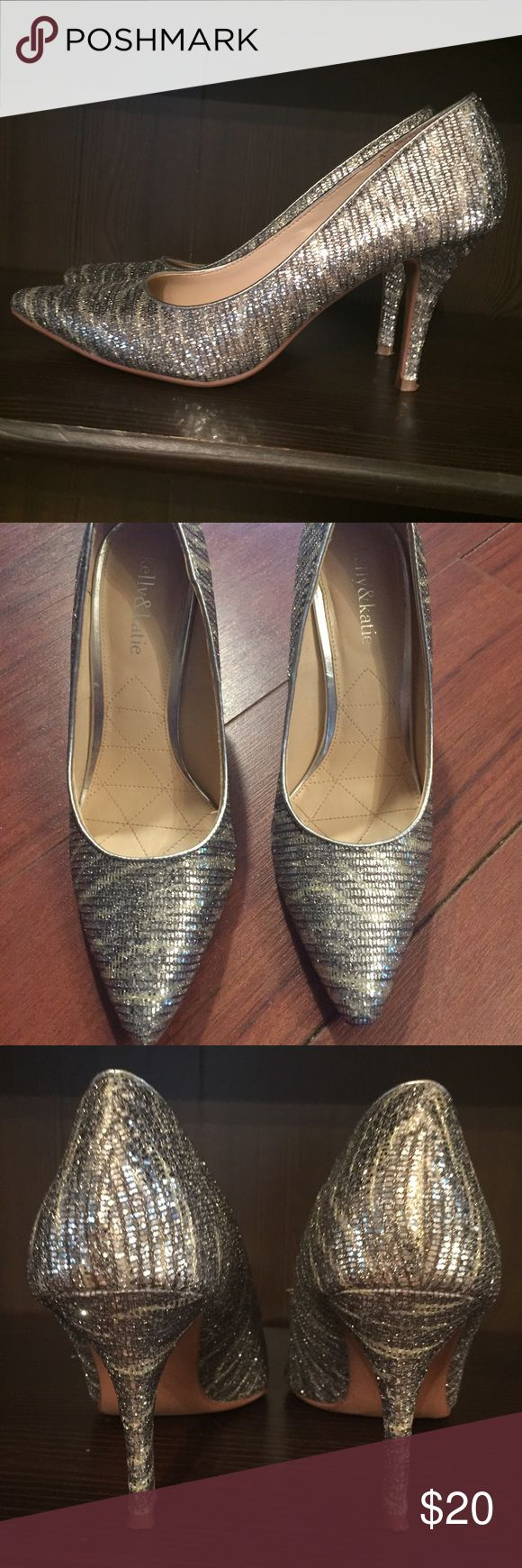 """Kelly & Katie gold and silver glitter heels Size 8, new, worn one time, silver and gold, 3"""" heels Kelly & Katie Shoes Heels"""
