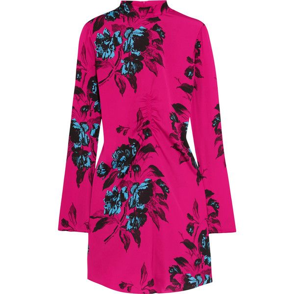 McQ Alexander McQueen Floral-print crepe de chine mini dress ($450) ❤ liked on Polyvore featuring dresses, pink, long sleeve short dress, pink mini dress, floral print dress, mini dress and high neck dress