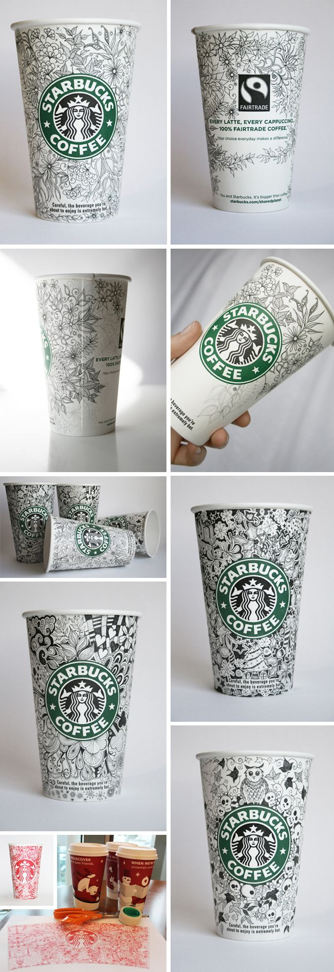 UK illustrator Johanna Basford campaigned to design the Starbucks cup (her dream job) which resulted with her actually getting commissioned by the company. www.johannabasford.com