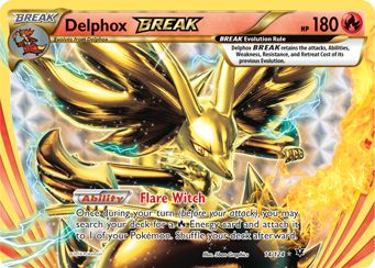 $1.99 - Set: Fates Collide, Card Number: 14/124, Rarity: Rare BREAK, Illustrator: 5ban Graphics, Retreat Cost: , Weakness: , HP: 180, Stage: BREAK, Card Type: Fire, Resistance: , Name: Delphox BREAK, Finish: Holo, Attack #1: , Attack #2: , Attack #3: , Card Text: , Edition: , Manufacturer: The Pokemon Company, Ability: Flare Witch - Once during your turn (before your attack), you may search your deck for a Fire Energy card and attach it to 1 of your Pokmon. Shuffle your deck afterward., ...