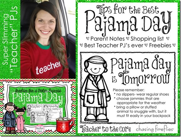 "Polar Express, Pajama Day, and a Freebie note letting parents know that ""PJ Day is Tomorrow"""