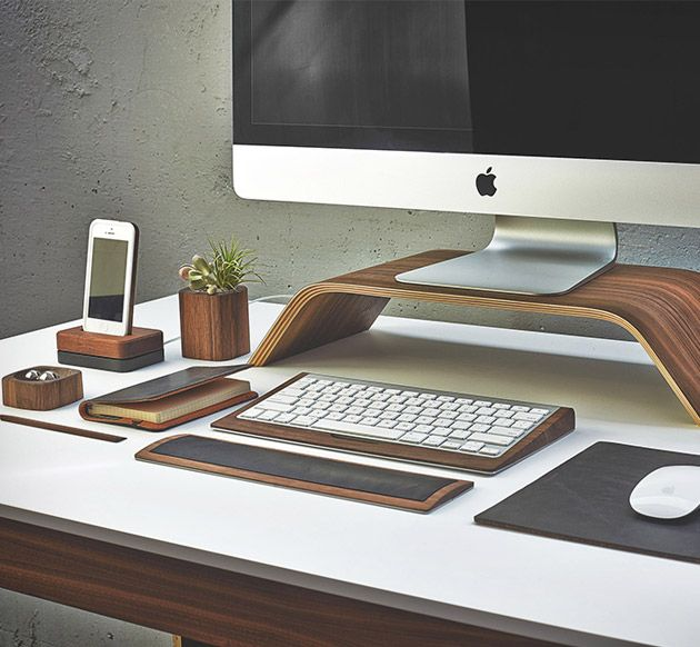 The Grovemade Walnut Desk Collection, ($19.00+) is handcrafted from natural wood grain and features everything you need to keep your desk in order and looking good while doing so.