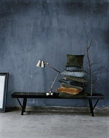 A dreamy indigo blue wall. This would look stunning with accents of rustic woods, creams and orangey yellows.