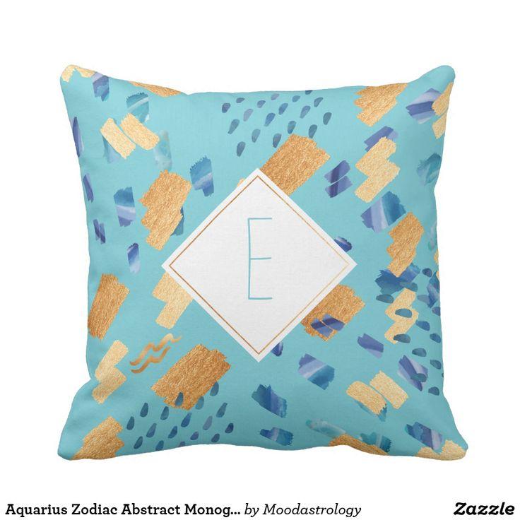 Aquarius Zodiac Abstract Monogram Aqua Pillow