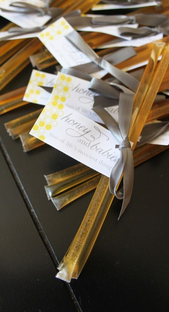 Honey sticks for favors at shower.  Or wedding. Heck. Honey sticks for everything!!! They're my favorite!