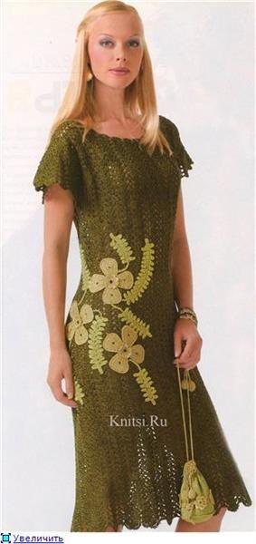 Ирландское кружево зеленое платье