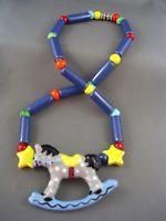 c.1970's Vtg Designer FLYING COLORS Rocking Horse Ceramic Necklace