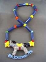 c.1970's Vtg Designer FLYING COLORS Rocking Horse Ceramic Necklace