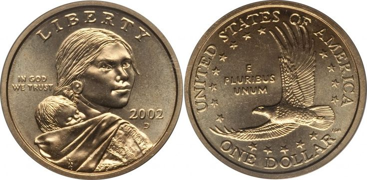 """2002 D Sacagawea Dollar Value is $1 circulated coins. If the coin is uncirculated and not certified they're worth $1.25 to $2. If graded MS67 by either PCGS or NGC they're worth $20 and in MS68 they're worth $225. Sacagawea and Native American dollars are called """"golden"""" but they're not made of gold; their alloy …"""