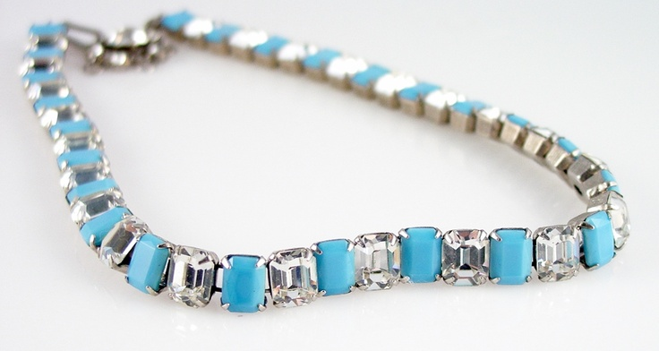 Fabulous vintage rhinestone necklace, featuring sky blue turquoise and sparkly clear rectangle rhinestones.