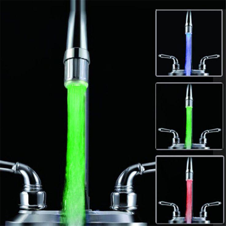 Rumah Lebih Luas Hot Jual 3 Warna Light LED Faucet Ubah Tap Shower Air Temperature Sensor No Baterai Gratis Pengiriman Feb28