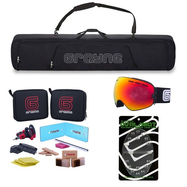Grayne Complete Snowboard Accessory and Tuning Kit. Snowboard Bag, Wax Kit, Repair Kit, Stomp Pad and Goggles!