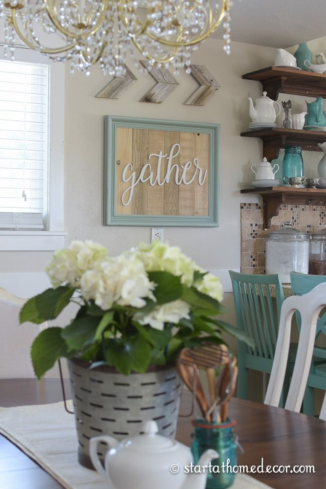 Start at Home Decor's Reclaimed Wood Signs.  Turquoise Reclaimed Wood Gather sign with Cedar Chevron Arrows
