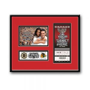 "2013 Stanley Cup Final 4x6 Photo & Ticket Frame - Chicago Blackhawks. If you were fortunate to attend the 2013 Stanley Cup Finals, you witnessed hockey history and you deserve a display as special as the event to prove it. Capture the memory of seeing two NHL ""Original Six"" teams, the Boston Bruins and Chicago Blackhawks, battle for Lord Stanley's Cup with a 4x6 Photo & Ticket Frame.    Each Stanley Cup Final 4x6 Photo & Ticket Frame includes: Place holder for your Stanley Cup Final Ticket…"