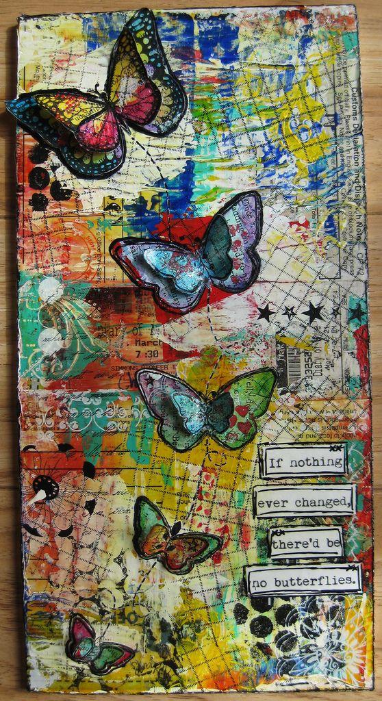 Mixed-media art butterflies