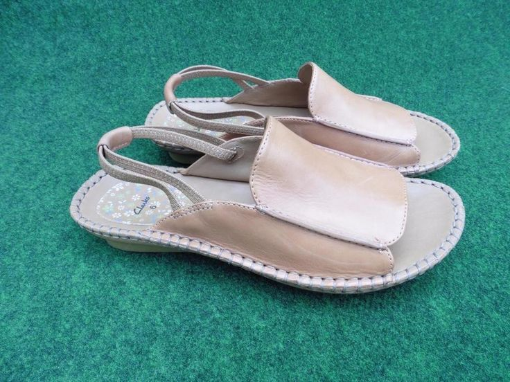 SIZE UK 6 CLARKS NATURAL TAN LEATHER SANDALS ELASTICATED DOUBLE STRAP SLINGBACKS