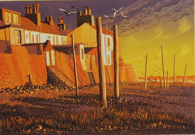 """""""After the storms"""" reduction linocut by Mark Pearce, edition of 32, 30 x 43cm, £350 (framed) http://www.themeregallery.co.uk/mark-pearce/4579448041"""