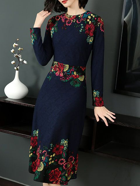 1b3d39c5ac Online Shopping Stylewe Summer Dresses Long Sleeve Floral Dresses Daytime A-Line  Crew Neck Printed Statement Dresses