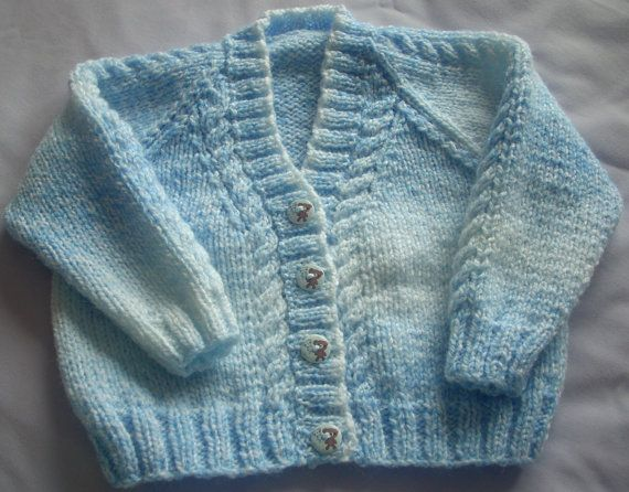 Baby Cardigan-blue-white-Hand Knit white by TheKnittingNannieGB
