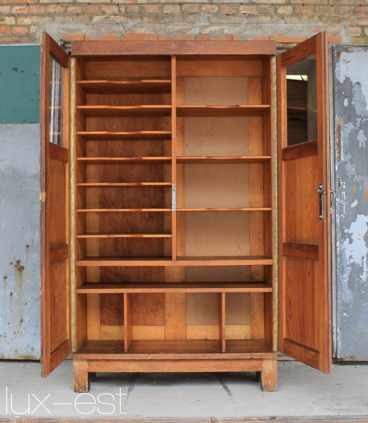 Juris Industrie Buro Akten Schrank Holz Original Vintage