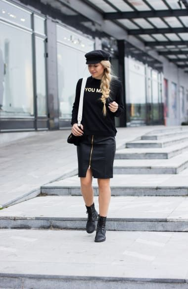 Cozy Outfit from theblondebliss with Brixton Hats, Moncler Sweatshirts, Prada Crossbody Bags, 7 For All Mankind Skirts, Tod's Boots