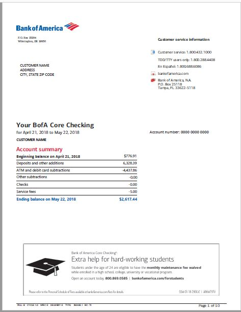 bank of america credit card statement