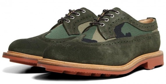 MARK MCNAIRY – TWO-TONE LONG WING BROGUE SHOE – GREEN SUEDE & CAMO