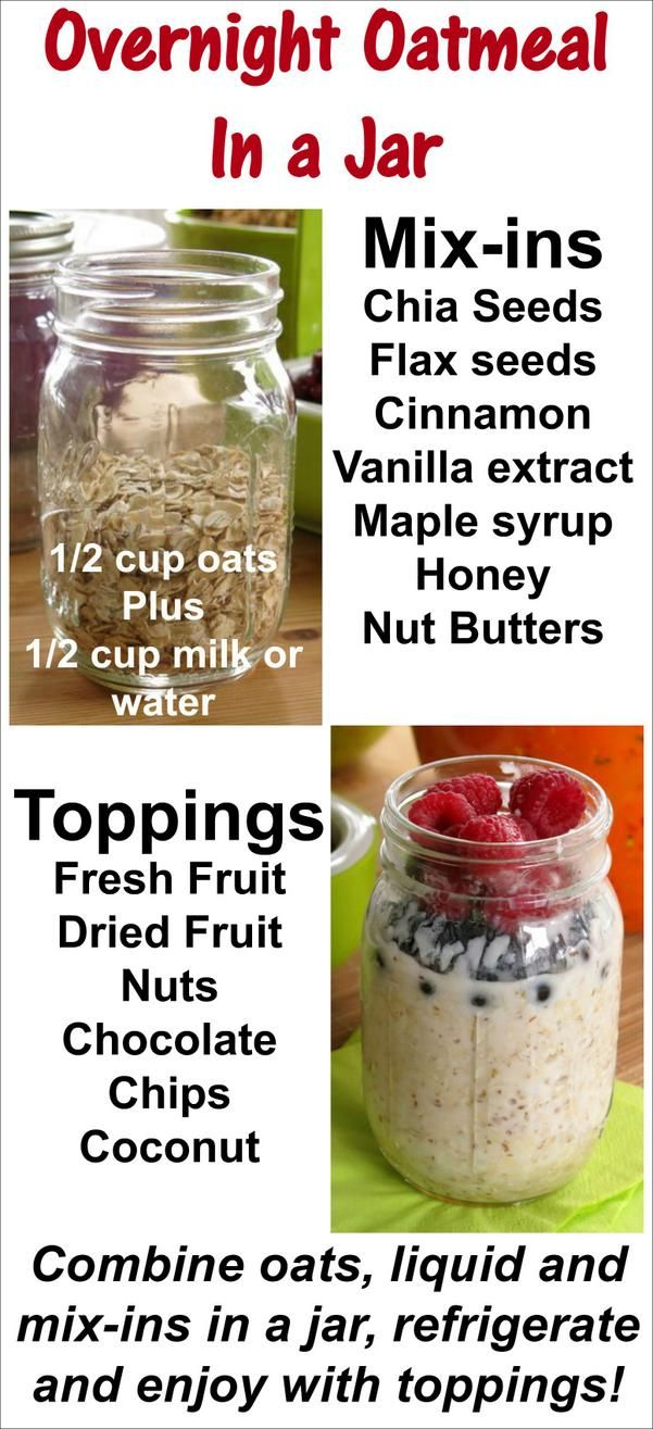 Overnight Oatmeal in a Jar - easy recipe for quick and healthy breakfast all week long! #overnightoatmeal #oatmeal