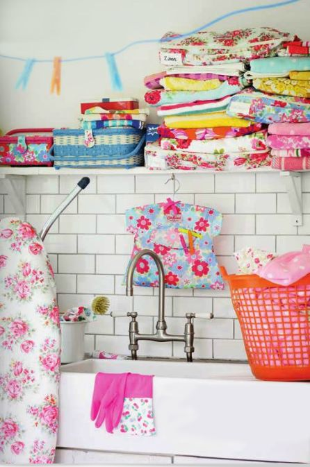 what a cheerful spot - now that would make anyone look forward to doing laundry -- almost.
