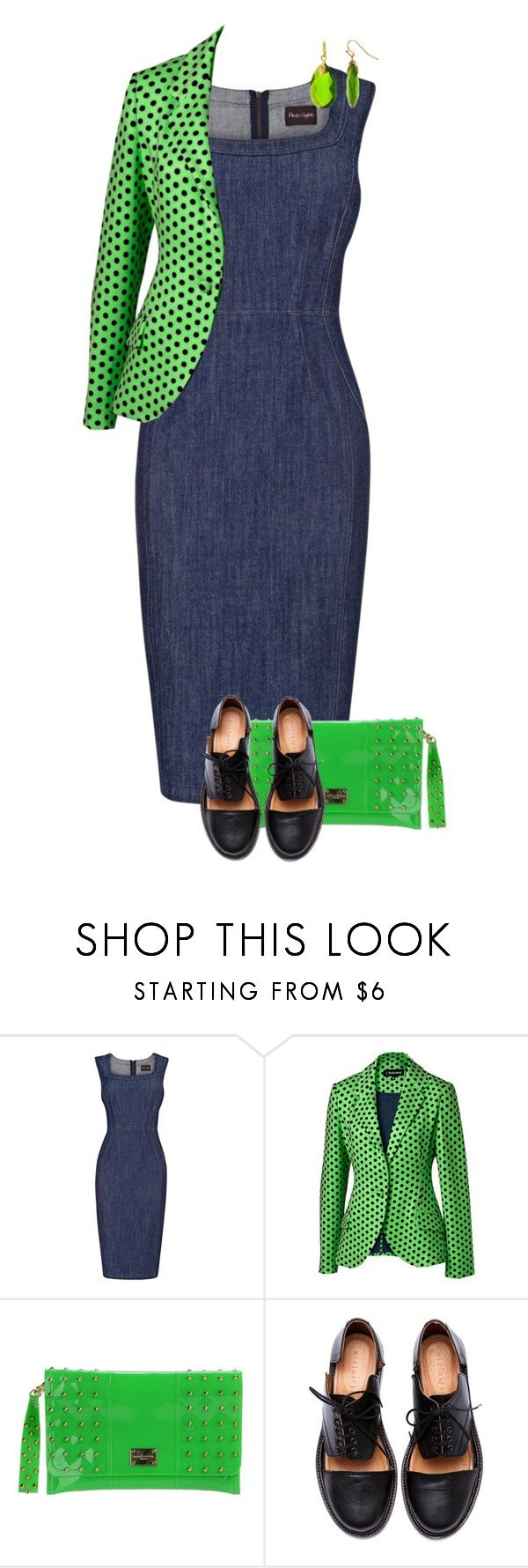 """Denim & Neon"" by feelgood35 ❤ liked on Polyvore featuring Phase Eight, J. Peterman, Hervê Guyel, Minimarket, denim, neon, GREEN, PolkaDots and cutoutstyle"