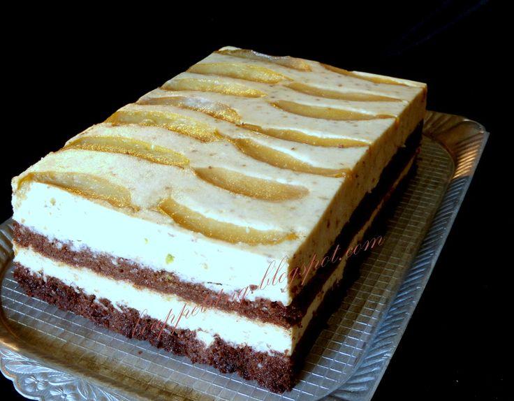 gruszkowy (jabłkowy) : czekoladowe ciasto, mus gruszkowy (jabłkowy), karmelizowane gruszki (jabłka)